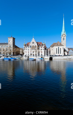 Historic district of Zurich on the Limmat River with St. Peterskirche church, Limmatquai quay, Zurich, Switzerland, - Stock Image
