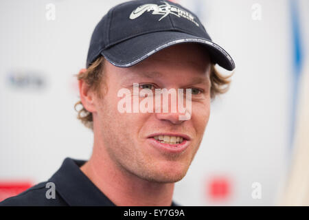 Portsmouth, UK. 23rd July 2015. Nathan Outteridge skipper of Artemis Team Sweden the Swedish challenger during the - Stock Image