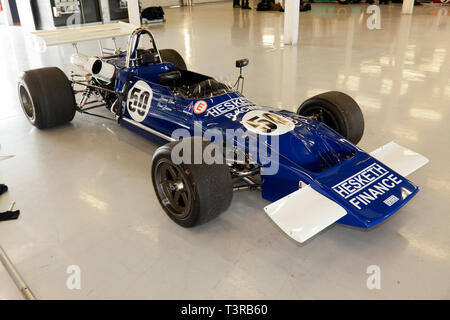 A Blue and White, 1971, March 712 Historic Formula 2 Race Car, once driven by James Hunt, on display in the International Pit garages, during the 2019 Silverstone Classic media Day - Stock Image