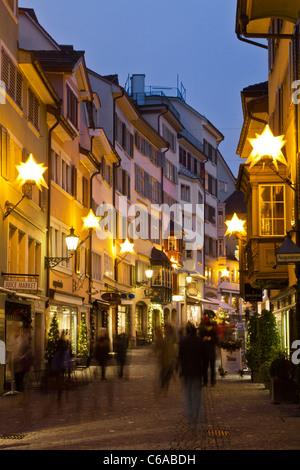 Augistinergasse, christmas illumination, Zurich, Switzerland - Stock Image
