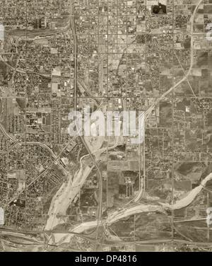 historical aerial photograph San Bernadino, California, 1966 - Stock Image