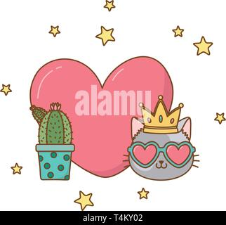 cactus and cat with heart icon cartoon vector illustration graphic design - Stock Image