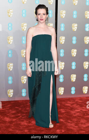 London, UK. 10th Feb, 2019. LONDON, UK. February 10, 2019: Claire Foy arriving for the BAFTA Film Awards 2019 at the Royal Albert Hall, London. Picture: Steve Vas/Featureflash Credit: Paul Smith/Alamy Live News - Stock Image