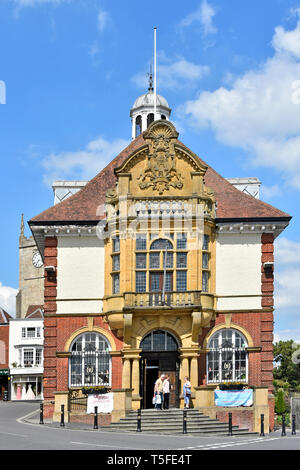 Victorian old Marlborough Town Hall historical listed building in high street of English market town on busy A4 road & junction Wiltshire England UK - Stock Image