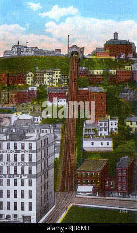 Cincinnati, Ohio, USA - The Mount Adams Incline was a funicular, or inclined railway, located in the Cincinnati neighborhood of Mount Adams. Completed in 1872, it was the longest-running of the city's five inclines, closing in 1948 - sadly it has since been demolished. - Stock Image