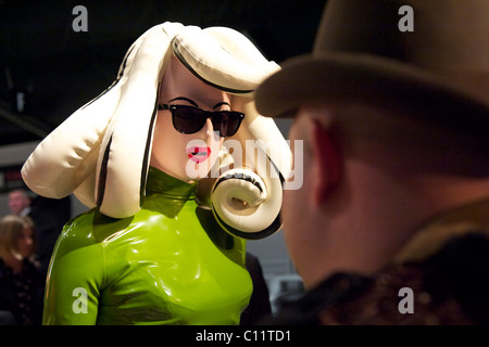 A plastic costumed fashionista attends the PPQ autumn 2011 collection at the BFC Showspace at Somerset House in - Stock Image