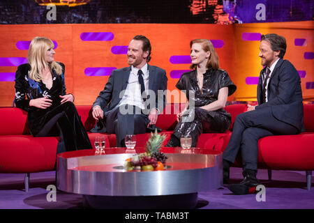 (left to right) Sophie Turner, Michael Fassbender, Jessica Chastain and James McAvoy during the filming of the Graham Norton Show at BBC Studioworks 6, Television Centre, Wood Lane, London, to be aired on BBC One on Friday evening. - Stock Image