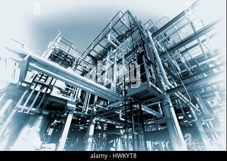 oil and gas refinery, petrochemical industry in old vintage concept - Stock Image