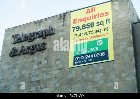 Old Telegraph and Argus Newspaper press Hall empty and available in Bradford, West Yorkshire, UK - Stock Image