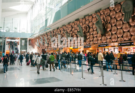 Immigration and arrival hall at Indira Gandhi International Airport in Delhi India - Stock Image
