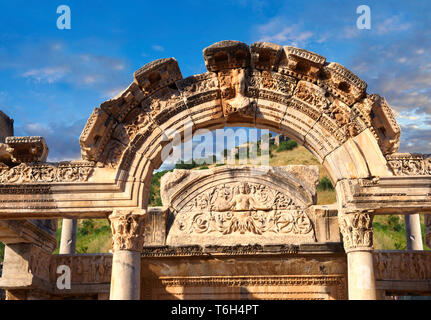 The Temple of Emperor Hadrian on Curetes Street ( 117 - 138 A.D ).  Ephesus Archaeological Site, Anatolia, Turkey. - Stock Image