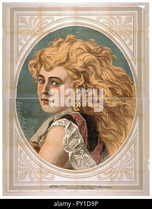 Bust view of woman with long, blond, free-flowing hair, wearing lace - Stock Image