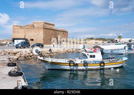 Medieval Castle of Paphos, Paphos Harbour, Paphos (Pafos), Pafos District, Republic of Cyprus - Stock Image