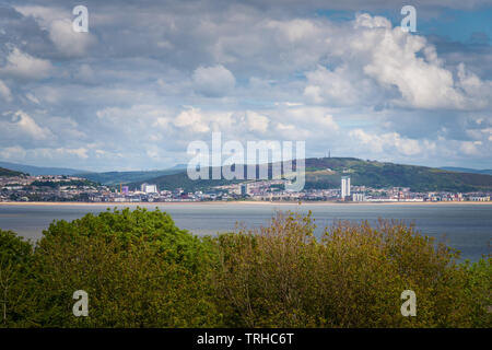Swansea city view from Mumbles, Wales, UK - Stock Image