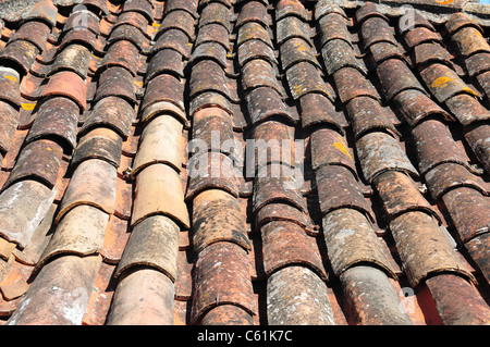 Pantiles on houses in the medieval town of Obidos some 50 miles north of Lisbon, Portugal - Stock Image