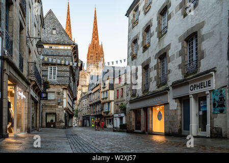 Quimper, France - August 2, 2018: Cityscape of the old town of Quimper, the capital of the Finistere department of Brittany in northwestern France - Stock Image