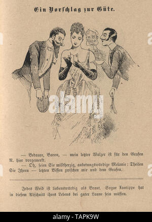 Victorian Cartoon of group of men flirting with a beautiful young woman holding a dance card, 1880s, German - Stock Image