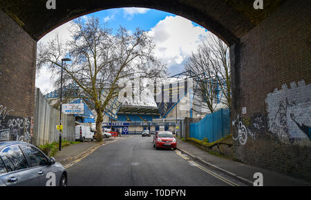 Bermondsey Borough of Southwark London UK - View of the approach to The Den Millwall football club stadium in Zampa Road - Stock Image