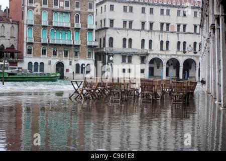 Acqua alta in Venice, Italy - Stock Image