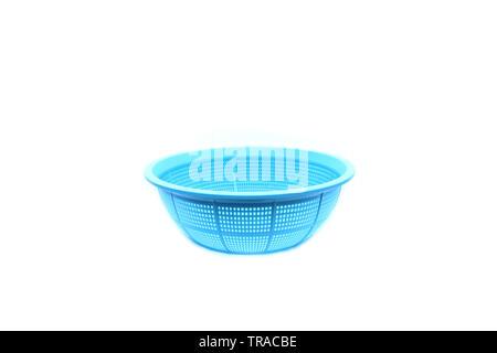 Blue plastic basket on isolated - Stock Image