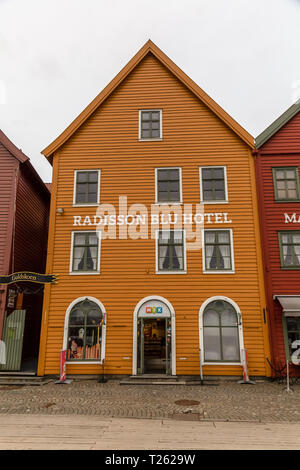 The Radisson Blu Hotel, part of the historical area of Bryggen, the old part of the the town of Bergen in Norway. - Stock Image