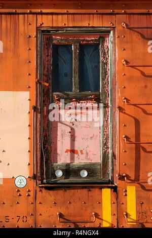 Door on a snow plough train car. - Stock Image