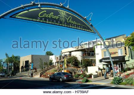 Cedros Avenue - design district, street scene in Solana Beach (San Diego County), California, USA. - Stock Image