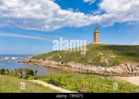 Tower of Hercules, A Coruna, A Coruna Province, Galicia, Spain.  The Tower of Hercules, a UNESCO World Heritage Site, was originally built by the Roma - Stock Image