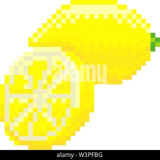 Lemon Pixel Art 8 Bit Video Game Fruit Icon - Stock Image