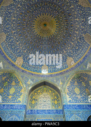 Blue tiled dome in Shah Mosque, also known as Imam Mosque, Isfahan, Iran - Stock Image
