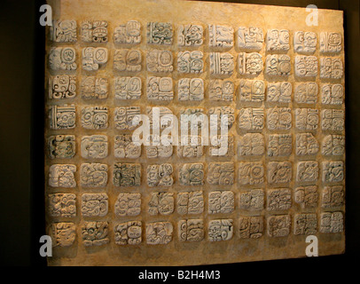 Maya Stucco Glyphs, Palenque Archeological Museum, Chiapas State, Mexico - Stock Image