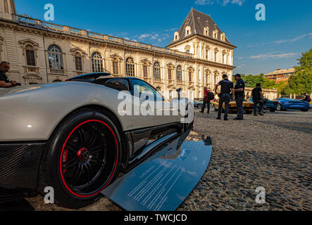 Piedmont Turin - Turin auto show 2019  - Valentino park - Valentino castle  - Pagani Roadster - Stock Image