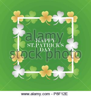 Invitation or greeting card for the day of St. Patrick. Black frame with clover leaves. Vector illustration - Stock Image