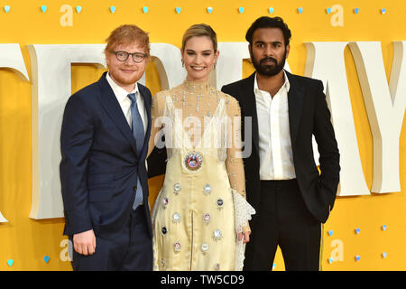 Ed Sheeran, Lily James and Himesh Patel attend the UK Premiere of 'Yesterday' at the Odeon Luxe in Leicester Square, London, England. - Stock Image