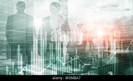 Business Finance Chart Graph. Trading Forex Exchange Investment Fintech concept. Mixed media. - Stock Image