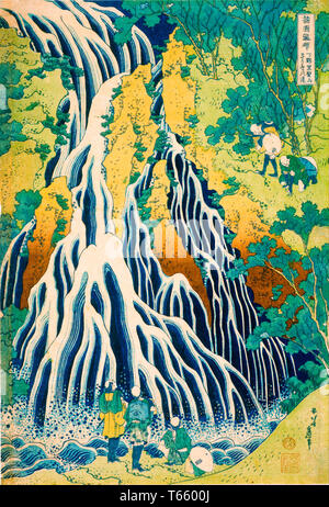 Katsushika Hokusai, Pilgrims at Kirifuri Waterfall on Mount Kurokami in Shimotsuke Province, print, c. 1831-1832 - Stock Image