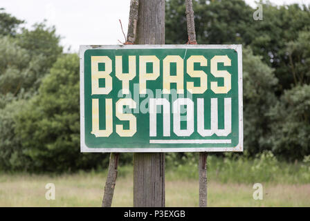 Bypass Us Now sign at Marlesford, Suffolk, England, UK - Stock Image
