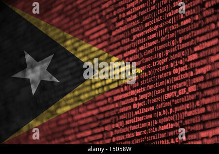 Timor Leste flag  is depicted on the screen with the program code. The concept of modern technology and site development. - Stock Image