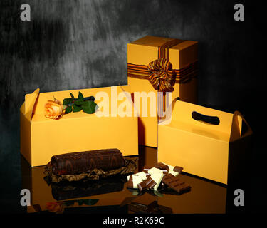 A shot of different types of yellow packaging - Stock Image