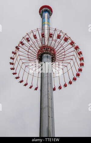 WindSeeker is a 301-foot-tall swing ride at several Cedar Fair parks, the rides are Wind Seeker models manufactured by Mondial - Stock Image