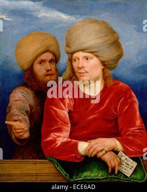 Double Portrait; Michael Sweerts, Flemish, 1618 - 1664; about 1660 - 1662; Oil on panel; Unframed: 21.7 x 17.8 cm - Stock Image