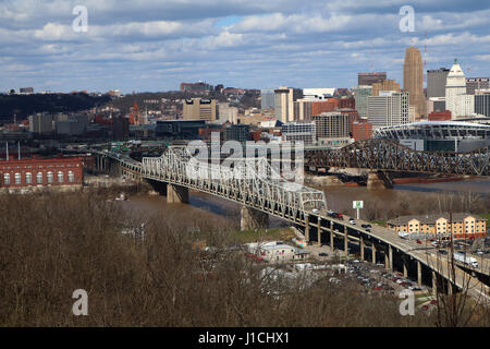 infrastructure - Rust and damage to the Brent Spence Bridge that carries Interstates 71 and 75 across the Ohio River - Stock Image