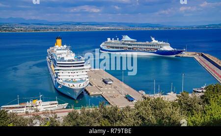 Costa Cruises cruise liner Costa Luminosa moored in port of Katakolon Greece Europe with Marella Discovery 2 at terminal crociere katakolo right - Stock Image