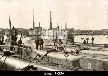 H Class submarines 34, 48, 30 and 42 at Torquay, Devon. - Stock Image