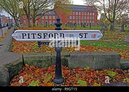 Historic Sign from Pitsford Street, Warstone Lane Cemetery, Jewellery Quarter, Birmingham, West Midlands, England, UK - Stock Image