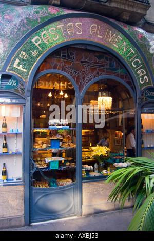 spain Barcelona Las Ramblas Art nouveau fassade Patisserie - Stock Image