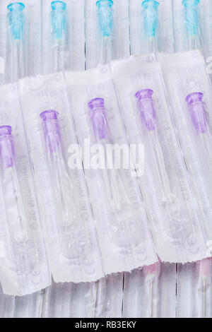 Close-up of hypodermic needles. Specifically BD Microlance brand (Add. Info for types). Metaphor NHS, innoculation, flu jab, medical supplies. - Stock Image