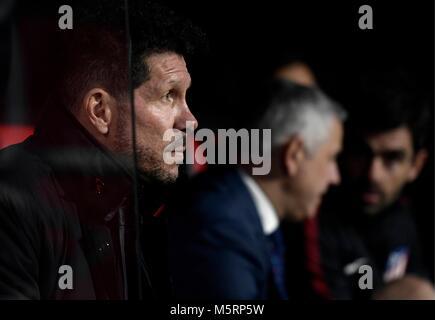 Sevilla; SPAIN-FEBRUARY 25: head coach Diego Simeone of Atletico de Madrid during the Liga Santander match between - Stock Image