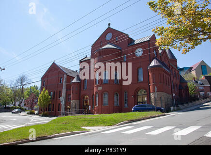 June 23, 2018- St. Johns, Newfoundland: The brick structure on the corner of Gower Street and Church Hill, the United Church - Stock Image