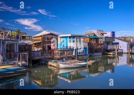 USA, California Sausalito, near San Francisco, Houseboats - Stock Image